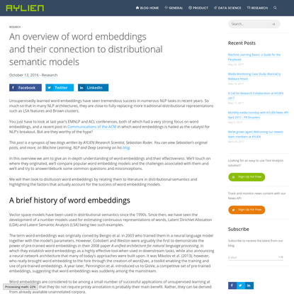An overview of word embeddings and their connection to distributional semantic models