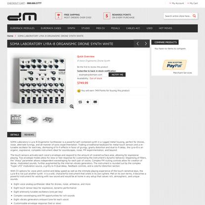 DETROIT MODULAR : SOMA Laboratory Lyra-8 Organismic Drone Synth