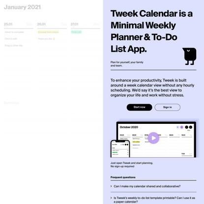 Tweek Calendar — Minimal To Do list and Weekly Task Planner App