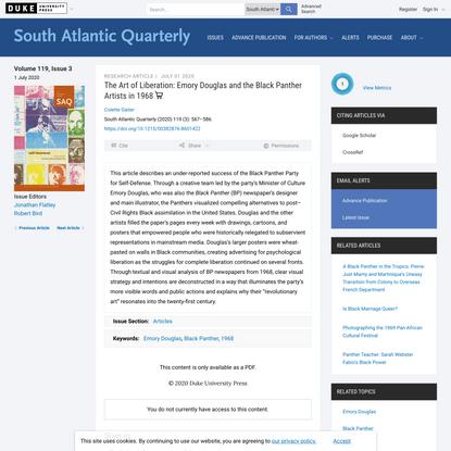 The Art of Liberation | South Atlantic Quarterly | Duke University Press
