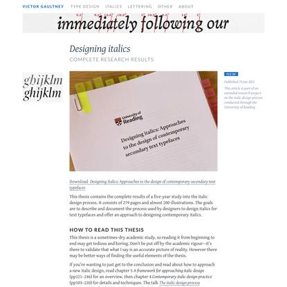 Designing italics