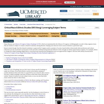 LibGuides: Critical Race & Ethnic Studies 100 (Vang): Leveraging Subject Terms