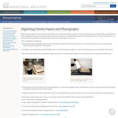 Digitizing Family Papers and Photographs