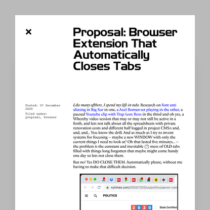 words.dance · Proposal: Browser Extension That Automatically Closes Tabs