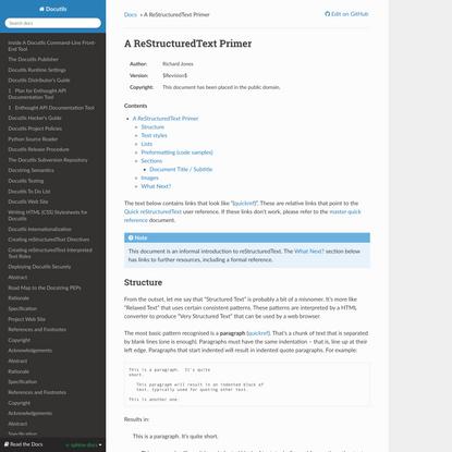 A ReStructuredText Primer — Docutils 3.0 documentation