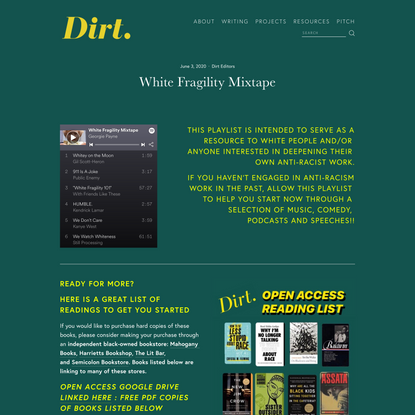 White Fragility Mixtape — Dirt.
