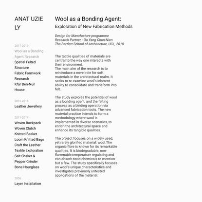 Wool as a Bonding Agent — Anat Uziely