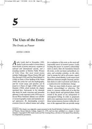 The Uses of the Erotic by Audre Lorde