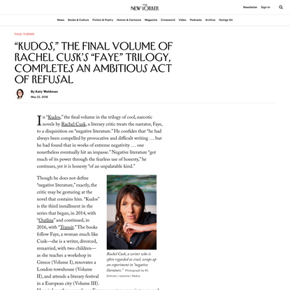 """Kudos,"" the Final Volume of Rachel Cusk's ""Faye"" Trilogy, Completes an Ambitious Act of Refusal"
