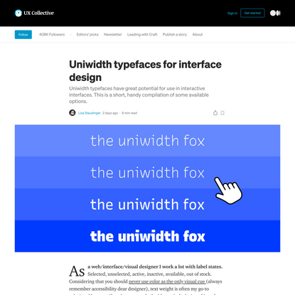 Uniwidth typefaces for interface design | by Lisa Staudinger | Jan, 2021 | UX Collective