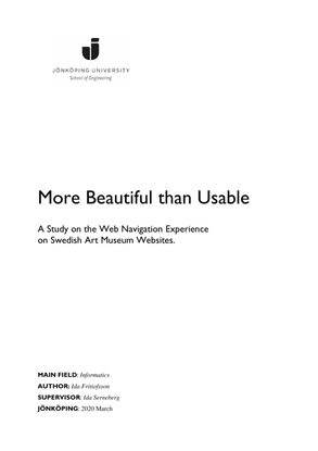 More Beautiful than Usable A Study on the Web Navigation Experience on Swedish Art Museum Websites