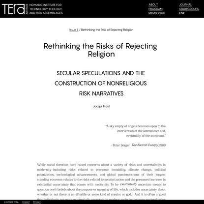 Tera Institute — Rethinking the Risk of Rejecting Religion