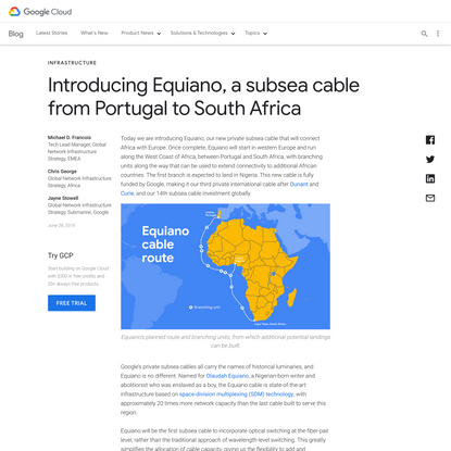 Introducing Equiano, a subsea cable from Portugal to South Africa   Google Cloud Blog