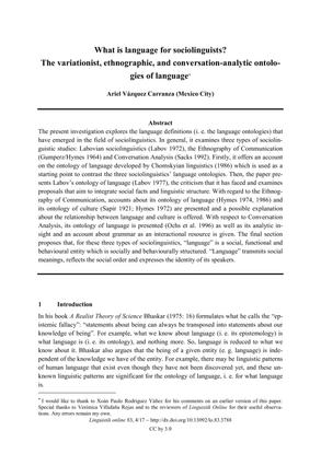 """Ariel Vázquez Carranza, """"What is language for sociolinguists?"""" 2017"""