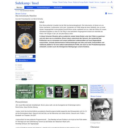 Das terrestrische Manifest von Bruno Latour - Suhrkamp Insel Bücher Buchdetail