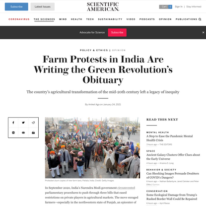 Farm Protests in India Are Writing the Green Revolution's Obituary