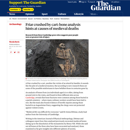 Friar crushed by cart: bone analysis hints at causes of medieval deaths