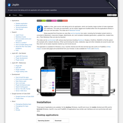Joplin - an open source note taking and to-do application with synchronisation capabilities