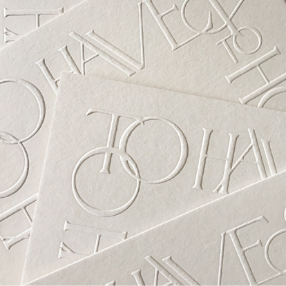 "Colorplan on Instagram: ""Blind embossed typographic design onto Colorplan Mist by @camelliaandco."""