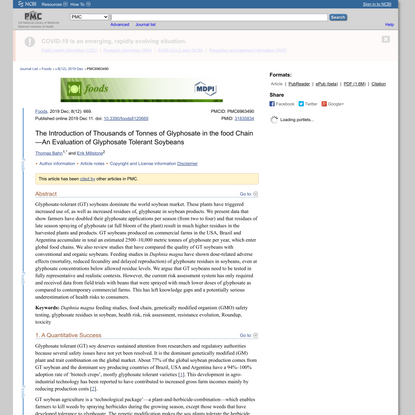 The Introduction of Thousands of Tonnes of Glyphosate in the food Chain—An Evaluation of Glyphosate Tolerant Soybeans