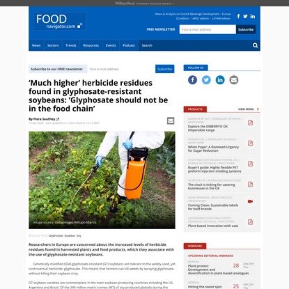 'Much higher' herbicide residues found in glyphosate-resistant soybeans: 'Glyphosate should not be in the food chain'