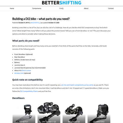 Building a Di2 bike – what parts do you need? | BetterShifting.com