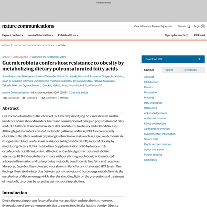 Gut microbiota confers host resistance to obesity by metabolizing dietary polyunsaturated fatty acids