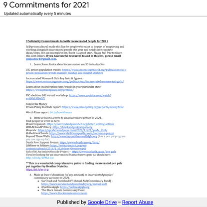 9 Commitments for 2021