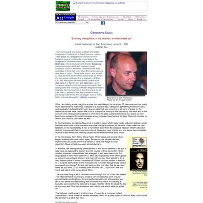 Generative Music - Brian Eno - In Motion Magazine