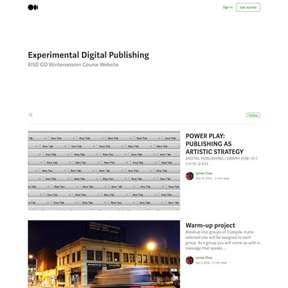 Experimental Digital Publishing – Medium