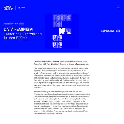 Databite No. 131: Data Feminism with Catherine D'Ignazio and Lauren F. Klein