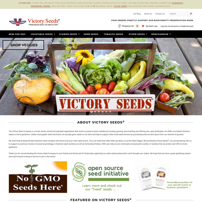The Original Victory Seeds® - Working to Preserve Rare, Open-Pollinated and Heirloom Seeds
