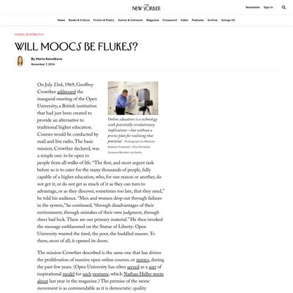 Will MOOCs be Flukes?