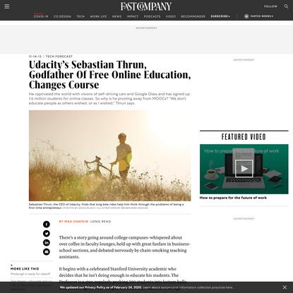 Udacity's Sebastian Thrun, Godfather Of Free Online Education, Changes Course