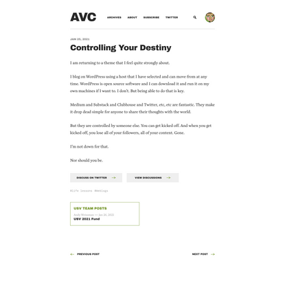 Controlling Your Destiny - AVC