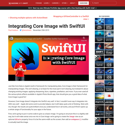 Integrating Core Image with SwiftUI - a free Hacking with iOS: SwiftUI Edition tutorial