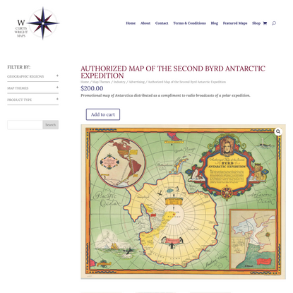 Authorized Map of the Second Byrd Antarctic Expedition | Curtis Wright Maps