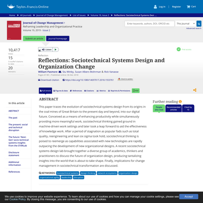 Reflections: Sociotechnical Systems Design and Organization Change