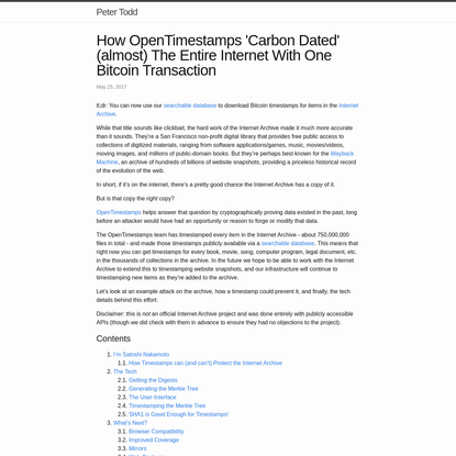 How OpenTimestamps 'Carbon Dated' (almost) The Entire Internet With One Bitcoin Transaction
