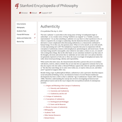 Authenticity (Stanford Encyclopedia of Philosophy)