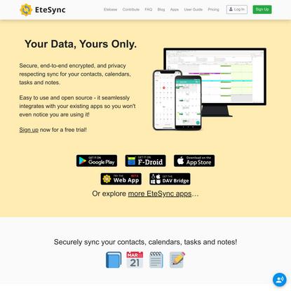 EteSync - Secure Data Sync