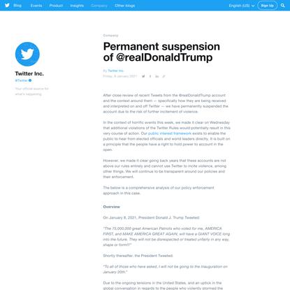 Permanent suspension of @realDonaldTrump