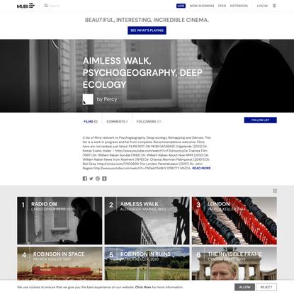 AIMLESS WALK, PSYCHOGEOGRAPHY, DEEP ECOLOGY – Movie List