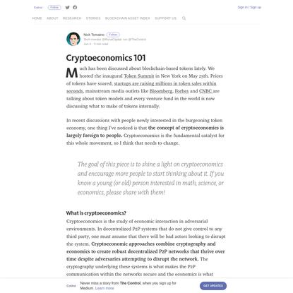 Cryptoeconomics 101 - The Control