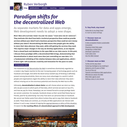 Paradigm shifts for the decentralized Web