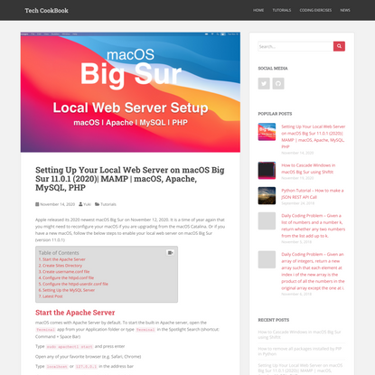 Setting Up Your Local Web Server on macOS Big Sur 11.0.1 (2020)| MAMP | macOS, Apache, MySQL, PHP