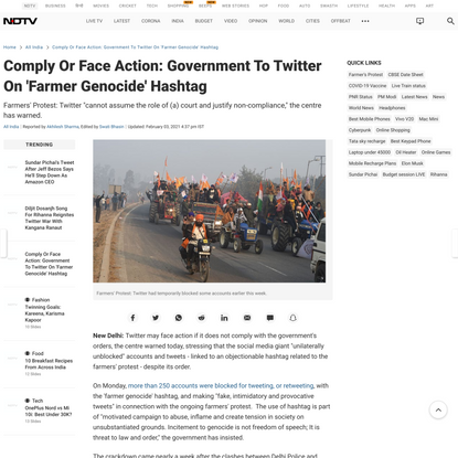 Comply Or Face Action: Government To Twitter On 'Farmer Genocide' Hashtag
