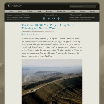 The Other 10,000 Year Project: Long-Term Thinking and Nuclear Waste