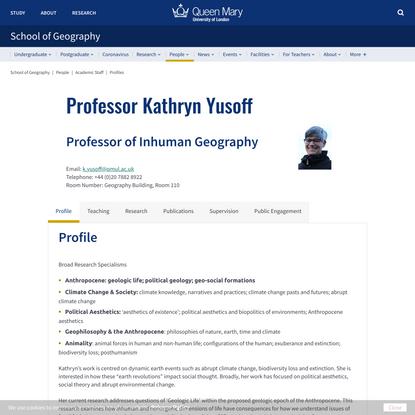 Kathryn Yusoff - School of Geography