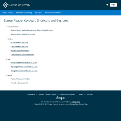 Screen Reader Keyboard Shortcuts and Gestures